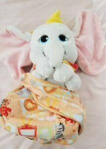 "Disney Parks Dumbo Baby Plush w Blanket Pouch 10"" Babies New w Tags"