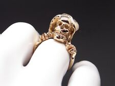 Mens 14k Yellow Gold Joker Pirate Death Skull Gothic Reaper Band Ring Size 10.5
