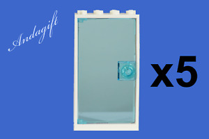 LEGO NEW 5 of 1x4x6 doors 60596 with blue glass white frame blue handles