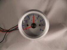 """2"""" Tachometer Gauge Silver with SIlver face Blue Numbers 2 in Tach"""