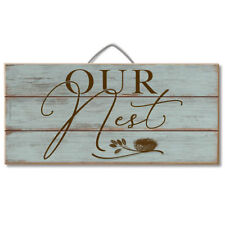 "OUR NEST Wedding/Anniversary/Housewarming Rustic Wood Hanging Sign, 12"" x 6"""