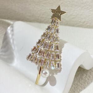 New Luxury 925 Silver Christmas Tree Zircon Pearl Brooch Pin Women Jewelry Gifts