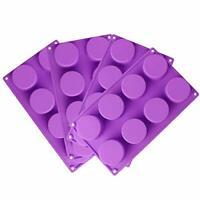 RETON 8-Cavity Round Shape Silicone Mold for Soap Cake Bread Cupcake Cheeseca...