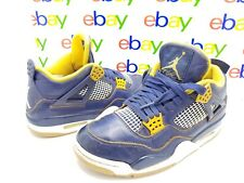 NIKE AIR JORDAN Retro 4 IV Dunk From Above Navy Blue Gold 308497-425 Size 8.5M