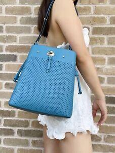 Kate Spade Marti Large Bucket Bag Shoulder Tote Blue Perforated Leather