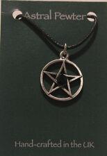 Light Jet Crystal Pentagram Gothic black cord grey pewter pendant