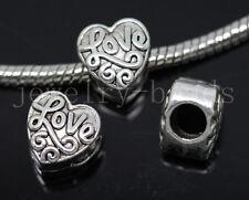 New 8/30/150pcs Antique Silver Bulk Lots big hole Heart Shape European Beads DIY