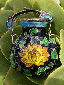 Rare ANTIQUE Silver Enameled Black Green Yellow Amphora CHINESE Pendant