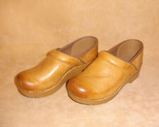 DANSKO Light Tan Brown Leather Slip On W/ Ombre Front Clog Shoes Size 38