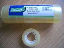 8 ROTOLI Sellotape Premium facile strappo chiaro Appiccicoso Nastro Da Imballaggio 19mm x 33m NUOVO