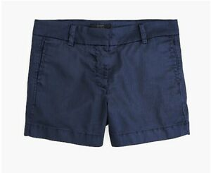 "New Women's J.Crew Navy Blue 4"" Stretch Chino Shorts Size 8"