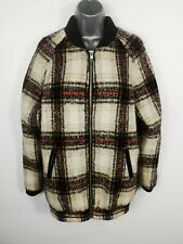 WOMENS M&S LIMITED EDITION WOOL WHITE RED ZIP UP CHECK LONG WINTER COAT SIZE 8