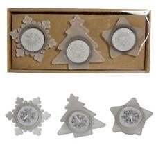 Natale Tealight Candele e Supporto Set-Albero Stella & Fiocco di Neve-Argento