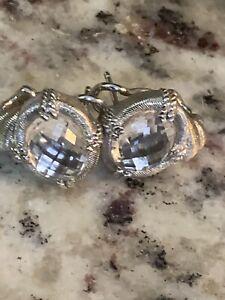 Judith Ripka Sterling Silver Diamonique Pierced Earrings