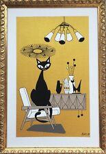 FREE SHIPPING.Mid Century Modern Atomic Cat El Gato Original Painting Wall Art