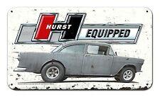 "Hurst Equipped TLB55 (Patina) Vintage Metal Sign 22x12.75"" Two Lane Blacktop"