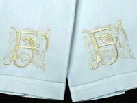 "Vintage Embroidery Cotton Guest HAND TOWELS (2) Elaborate ""F"" Monograms, VINTAGE"