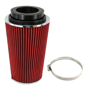 Car High Flow Intake Cone Red Filter Cold Ram Induction Kit 1Pc Aluminum Plastic