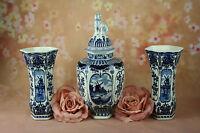 Set of 3  DELFT Blue Vases ROYAL SPHINX by BOCH Belgium porcelain marked dog