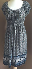 MAX EDITION Dress Size M Black Ivory Teal Floral Boho Stretch Peasant Empire NWT