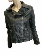 LADIES BIKER BLACK FAUX LEATHER SIZE 10 FROM A WEAR (D-67)