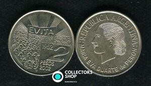 ARGENITINA: EVITA 2 pesos 2002 Maria Eva Duarte de Peron UNC KM#135