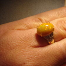 4.28ct Certified Rare Indonesian Black Opal & Diamond Gold Ring