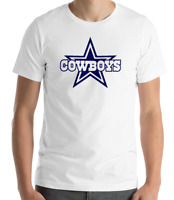 DALLAS COWBOYS WHITE T-shirt  Navy Graphic Cotton Adult Logo S-2XL