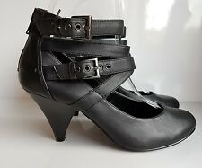 Red Level Court Shoes Black Faux Leather Straps around Ankle Zip Backle UK 4/ 37