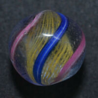 "Antique German Handmade 4 Color Latticinio Core Swirl Marble 43/64""  Mar328"