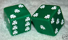 "1"" HUGE GREEN WITH WHITE SHAMROCKS OPAQUE DICE PAIR"