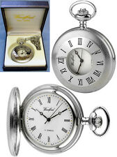 Woodford Half Hunter Pocket Watch 17 Jewel Chrome Plate with Free Engraving 1055