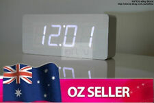 Wooden wood Digital LED Alarm Clock for Home Office - WHITE with WHITE LED