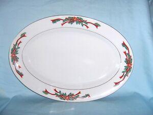 SERVING PLATTER Fairfield Holiday Poinsettia & Ribbon Porcelain Oval Gold Trim