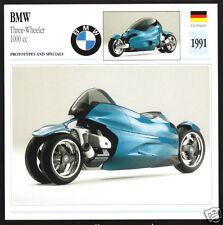 1991 BMW Three-Wheeler 1000cc 3-Wheel Show Bike Motorcycle Photo Spec Sheet Card