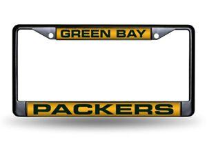 Green Bay Packers Black Metal Laser Cut License Plate Frame