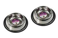 Set with 2 Anti Skid Pet Bowl for dog and cat 850ml Stainless steel 25cm