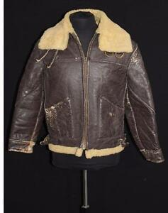 VINTAGE 1940'S WWII ERA B-3  BROWN SHEARLING LEATHER BOMBER JACKET SIZE SMALL