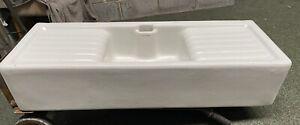 4 Foot Ceramic Huge Belfast Butler Sink - Double Drainer RARE !! 70 Years Old