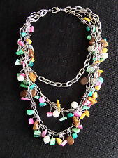 """Pretty Pastel Beaded Necklace On Silver Coloured 3 Tier Chain 16"""" Fixed Length"""