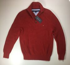 Tommy Hilfiger Quarter Zip Mock Neck Sweater - Red - Mens Size XS- MSRP $89
