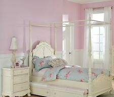 DREAMY OFF WHITE FINISH TWIN GIRLS POSTER CANOPY BED BEDROOM FURNITURE : canopy bed twin girl - memphite.com
