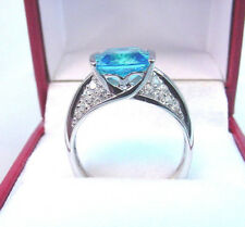INTENSE BLUE CUSHION SHAPE CUBIC ZIRCONIA and ACCENTS 14K WHITE GOLD RING...