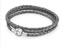 PANDORA Grey triple 57cm (medium)Braided Leather Bracelet 590705CBK.New in pouch