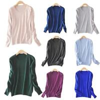 Women Knitted Cashmere Long Sleeve Jumper Pullover Sweater Autumn Tops Popular