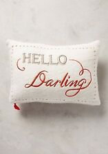 Anthropologie Pillow MERRY SENTIMENTS Wool Embroidered HELLO DARLING Oblong NWT