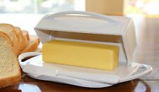 White Butter Dish Holder Covered Flip Top Storage, Spreader Stick Kitchen Dining