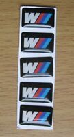 5 Pcs BMW M TEC 18mm x 11mm Sport Wheel Badge Sticker Emblem Decal Self Adhesive
