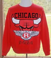 Gildan Size Large Chicago Bulls MVP Roses Red Long Sleeve Vintage Sweatshirt BX