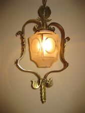1920s Solid Brass Hanging Light Fixture
